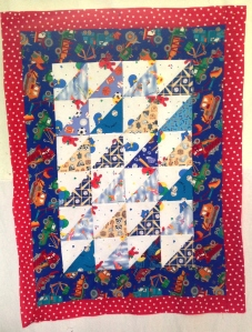 Little Boy Quilt 2, quilted ready to sew down binding