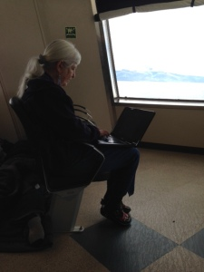 writing the blog on the ferry